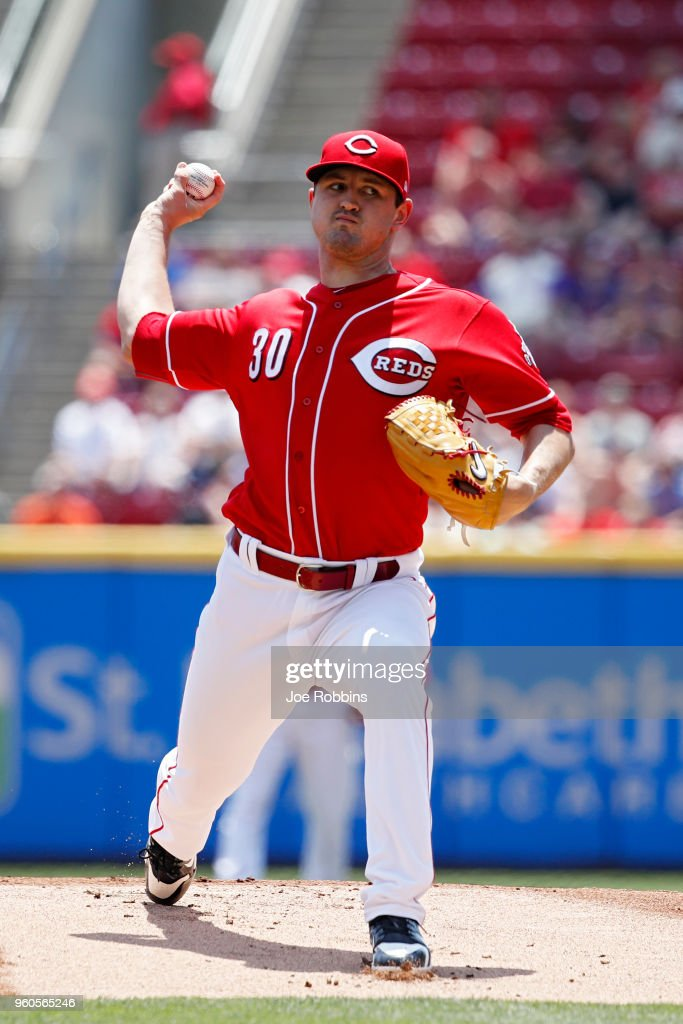 Tyler Mahle #30 of the Cincinnati Reds pitches in the first inning against the Chicago Cubs at Great American Ball Park on May 20, 2018 in Cincinnati, Ohio.