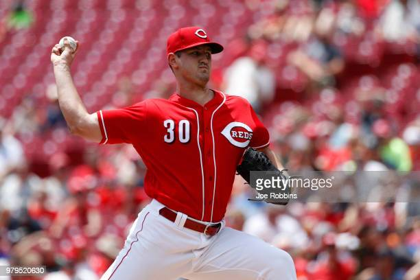 Jared Hughes of the Cincinnati Reds pitches in the eighth inning against the Detroit Tigers at Great American Ball Park on June 20 2018 in Cincinnati...