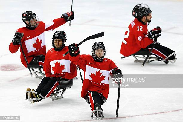 Tyler McGregor of Canda waves to the crowd after winning the Ice Sledge Hockey Bronze Medal match between Canada and Norway at the Shayba Arena...