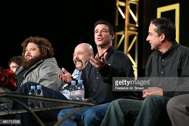 Tyler McLaughlin TJ Ott Dave Marciano Paul Hebert and Dave Cararro speaks onstage during the 'National Geographic Channel Wicked Tuna' panel...