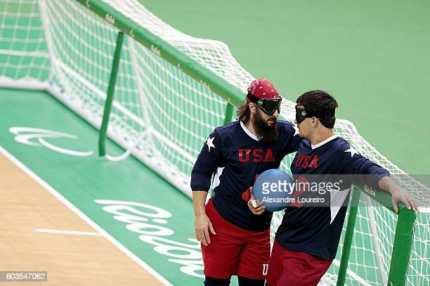 Tyler Merren and John Kusku of United States in action during Goalball - Men's Preliminary - Group B match between United States and Turkey at Future...