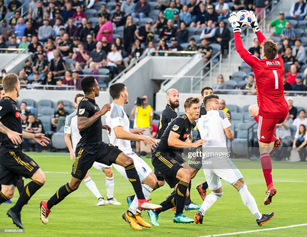Tyler Miller #1 of Los Angeles FC goes up for the ball during Los Angeles FC's MLS match against Minnesota United at the Banc of California Stadium on May 9, 2018 in Los Angeles, California. Los Angeles FC won the match 2-0