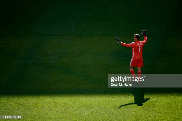 Tyler Miller of Los Angeles FC looks on during the first half of a game against the Seattle Sounders at Banc of California Stadium on April 21 2019...