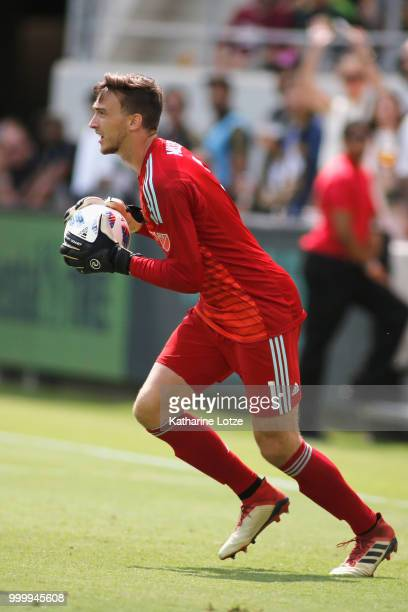 Tyler Miller of the Los Angeles Football Club recovers after making a save at Banc of California Stadium on July 15 2018 in Los Angeles California