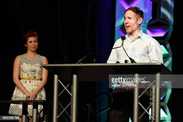 Tyler Moldenhauer accepts the award for Excellence in Animation and Excellence in Art onstage at SXSW Gaming Awards during SXSW at Hilton Austin...