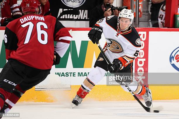 Tyler Morley of the Anaheim Ducks skates with the puck during the preseason NHL game against Arizona Coyotes at Gila River Arena on October 1 2016 in...