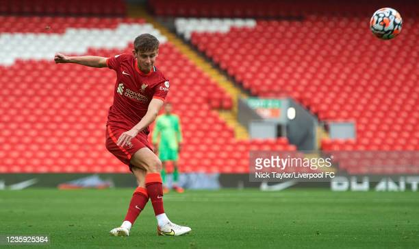 Tyler Morton of Liverpool in action during the PL2 game at Anfield on October 16, 2021 in Liverpool, England.