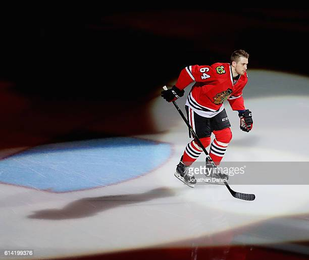 Tyler Motte of the Chicago Blackhawks is introduced before the season opening game against the St Louis Blues at the United Center on October 12 2016...