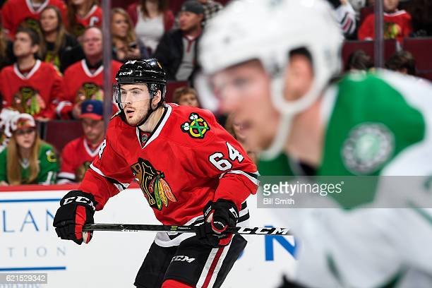 Tyler Motte of the Chicago Blackhawks looks up the ice in the first period against the Dallas Stars at the United Center on November 6 2016 in...