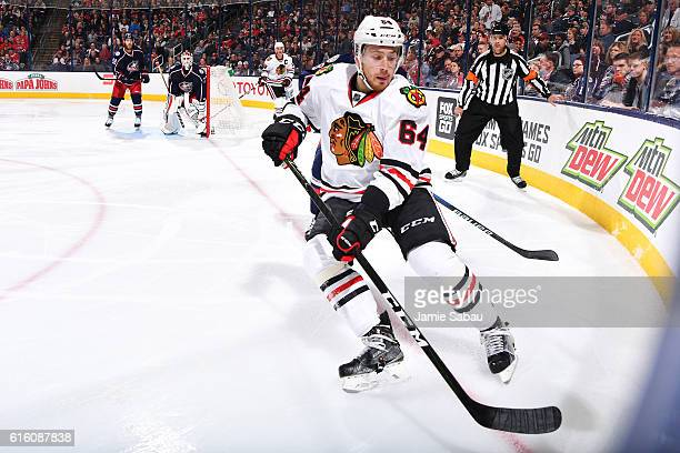 Tyler Motte of the Chicago Blackhawks skates after a loose puck during the second period of a game against the Columbus Blue Jackets on October 21...