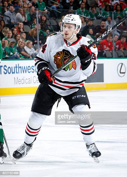 Tyler Motte of the Chicago Blackhawks skates against the Dallas Stars at the American Airlines Center on November 5 2016 in Dallas Texas