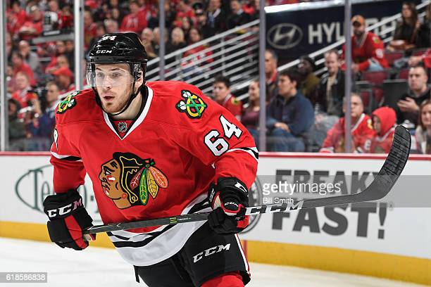 Tyler Motte of the Chicago Blackhawks skates in the first period against the Toronto Maple Leafs at the United Center on October 22 2016 in Chicago...