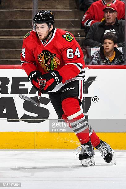 Tyler Motte of the Chicago Blackhawks skates in the second period against the New Jersey Devils at the United Center on December 1 2016 in Chicago...