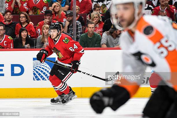 Tyler Motte of the Chicago Blackhawks skates in the third period against the Philadelphia Flyers at the United Center on October 18 2016 in Chicago...