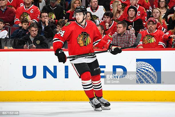 Tyler Motte of the Chicago Blackhawks skates in the third period against the Winnipeg Jets at the United Center on December 27 2016 in Chicago...