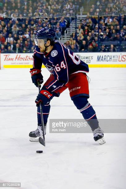 Tyler Motte of the Columbus Blue Jackets controls the puck during the game against the New York Rangers on November 17 2017 at Nationwide Arena in...