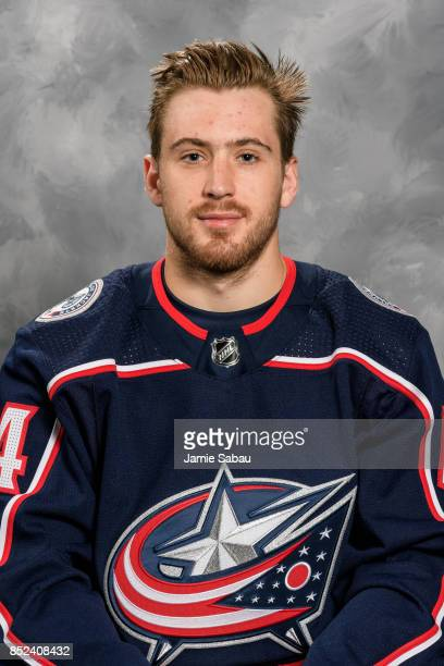 Tyler Motte of the Columbus Blue Jackets poses for his official headshot for the 201718 season on September 14 2017 at Nationwide Arena in Columbus...