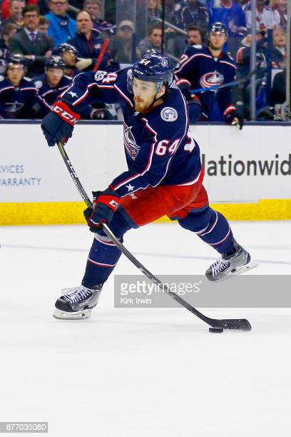 Tyler Motte of the Columbus Blue Jackets shoots the puck during the game against the New York Rangers on November 17 2017 at Nationwide Arena in...