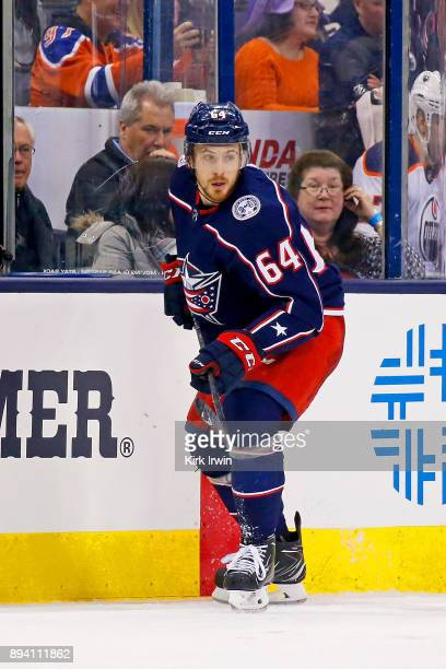 Tyler Motte of the Columbus Blue Jackets skates after the puck during the game against the Edmonton Oilers on December 12 2017 at Nationwide Arena in...