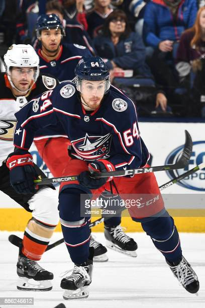 Tyler Motte of the Columbus Blue Jackets skates against the Anaheim Ducks on December 1 2017 at Nationwide Arena in Columbus Ohio