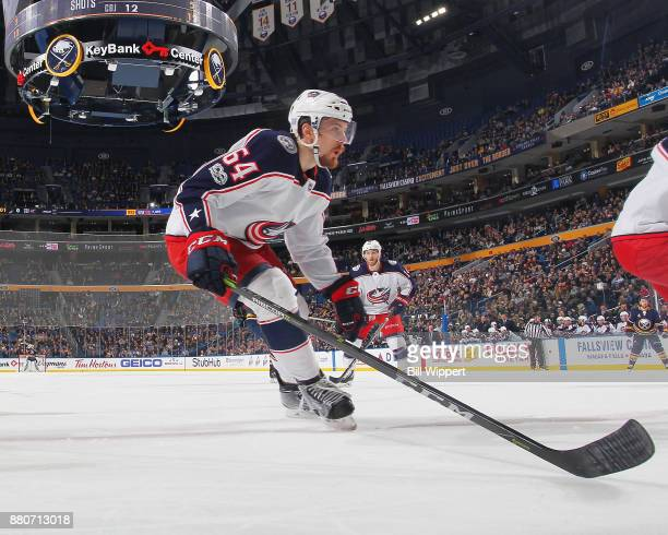 Tyler Motte of the Columbus Blue Jackets skates against the Buffalo Sabres during an NHL game on November 20 2017 at KeyBank Center in Buffalo New...