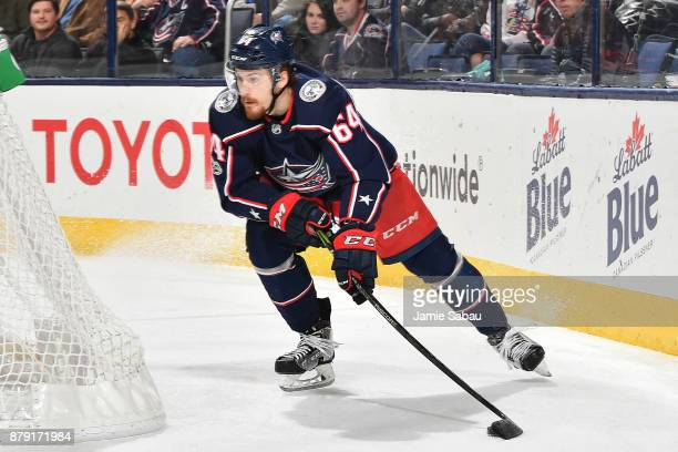 Tyler Motte of the Columbus Blue Jackets skates against the Calgary Flames on November 22 2017 at Nationwide Arena in Columbus Ohio
