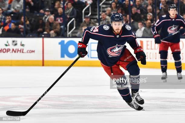 Tyler Motte of the Columbus Blue Jackets skates against the Edmonton Oilers on December 12 2017 at Nationwide Arena in Columbus Ohio