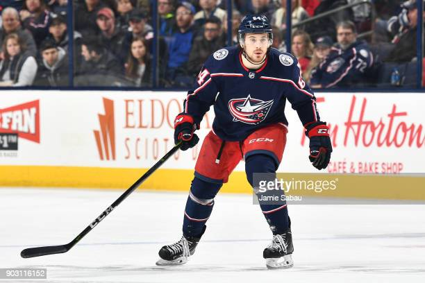 Tyler Motte of the Columbus Blue Jackets skates against the Florida Panthers on January 7 2018 at Nationwide Arena in Columbus Ohio