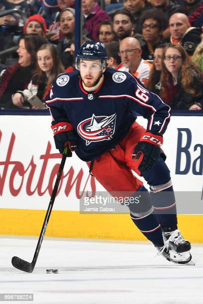 Tyler Motte of the Columbus Blue Jackets skates against the Philadelphia Flyers on December 23 2017 at Nationwide Arena in Columbus Ohio