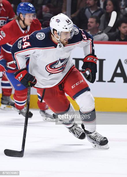 Tyler Motte of the Columbus Blue Jackets skates against the Montreal Canadiens in the NHL game at the Bell Centre on November 14 2017 in Montreal...