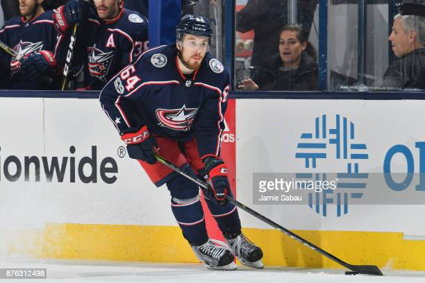 Tyler Motte of the Columbus Blue Jackets skates against the New York Rangers on November 17 2017 at Nationwide Arena in Columbus Ohio