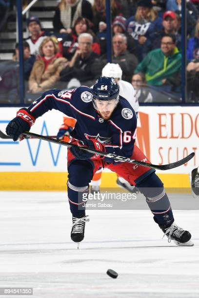 Tyler Motte of the Columbus Blue Jackets skates against the New York Islanders on December 14 2017 at Nationwide Arena in Columbus Ohio