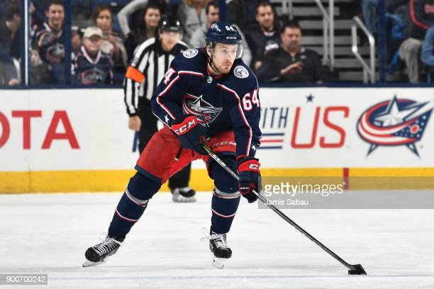Tyler Motte of the Columbus Blue Jackets skates against the Tampa Bay Lightning on December 31 2017 at Nationwide Arena in Columbus Ohio