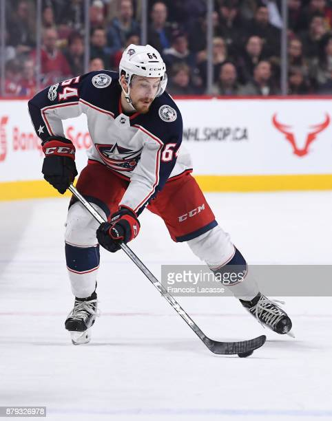 Tyler Motte of the Columbus Blue Jackets skates with the puck against the Montreal Canadiens in the NHL game at the Bell Centre on November 14 2017...