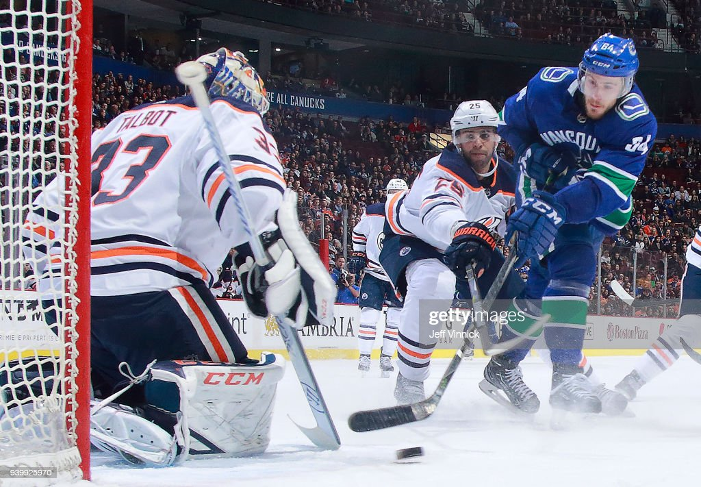 Tyler Motte #64 of the Vancouver Canucks takes a shot against Cam Talbot #33 of the Edmonton Oilers during their NHL game at Rogers Arena March 29, 2018 in Vancouver, British Columbia, Canada. Vancouver won 3-1.