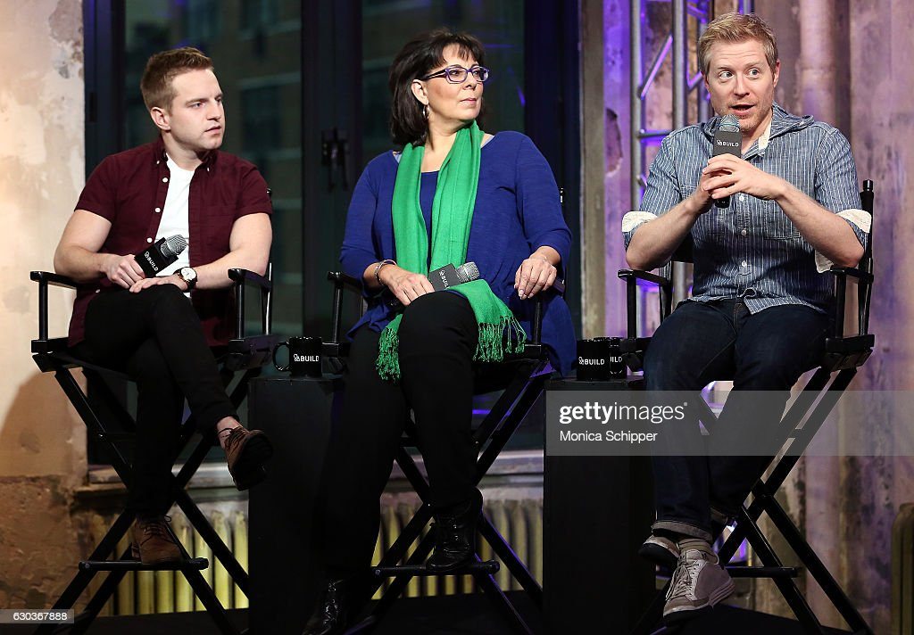 Tyler Mount, Christine Pedi and Anthony Rapp speak on stage at Build Presents Anthony Rapp, Tyler Mount & Christine Pedi & Playbill Discussing 'Broadway Con' at AOL HQ on December 21, 2016 in New York City.