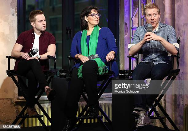 Tyler Mount Christine Pedi and Anthony Rapp speak on stage at Build Presents Anthony Rapp Tyler Mount Christine Pedi Playbill Discussing 'Broadway...