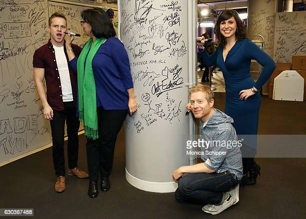 Tyler Mount, Christine Pedi, Anthony Rapp and Ruthie Fierberg sign the wall at AOL HQ when they visit for Build Presents Anthony Rapp, Tyler Mount &...