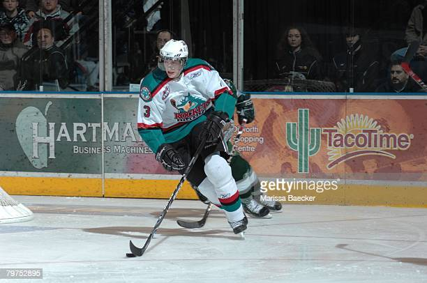 Tyler Myers #3 of the Kelowna Rockets skates against the Everett Silvertips on January 30 at Prospera Place in Kelowna Canada