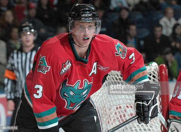 Tyler Myers of the Kelowna Rockets skates against the Prince George Cougars at Prospera Place on October 11 in Kelowna Canada Myers is a 2008 Buffalo...