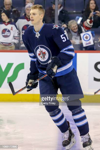 Tyler Myers of the Winnipeg Jets takes part in the pregame warm up prior to NHL action against the Vegas Golden Knights at the Bell MTS Place on...