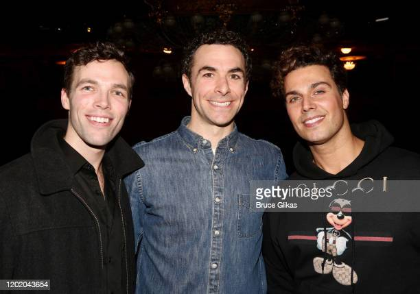 Tyler Myles Huseman Justin Peck and Kfir pose at the 32nd Anniversary Performance and Party for The Phantom of The Opera on Broadway at The Majestic...