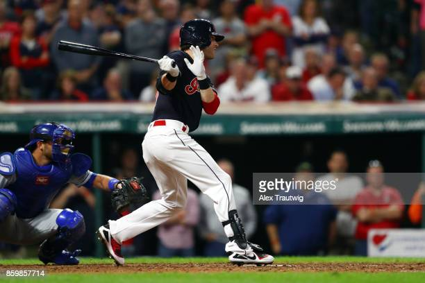 Tyler Naquin of the Cleveland Indians bats during the game against the Kansas City Royals at Progressive field on Thursday September 14 2017 in...