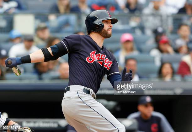 Tyler Naquin of the Cleveland Indians follows through on an eighth inning RBI single against the New York Yankees at Yankee Stadium on May 6 2018 in...