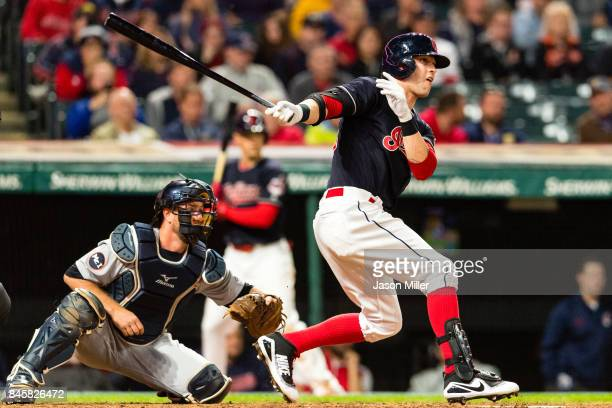 Tyler Naquin of the Cleveland Indians hits a single during the eighth inning against the Detroit Tigers at Progressive Field on September 11 2017 in...
