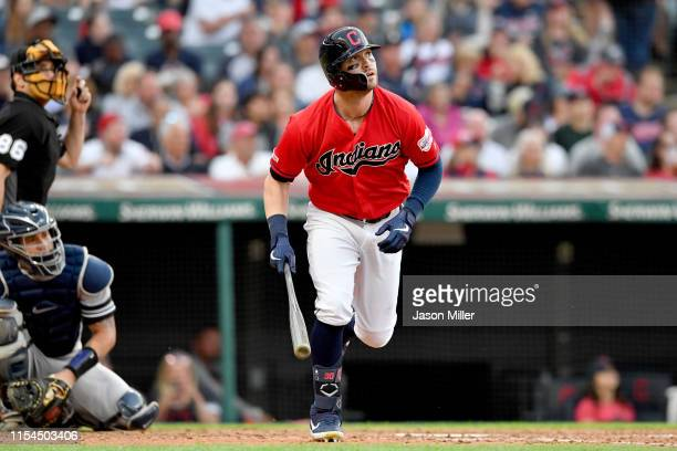 Tyler Naquin of the Cleveland Indians hits a solo homer during the fifth inning to tie the game against the New York Yankees at Progressive Field on...