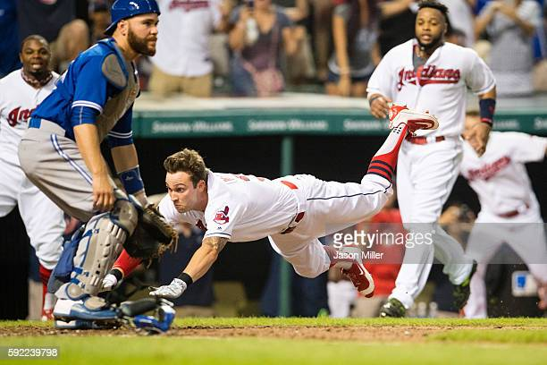 Tyler Naquin of the Cleveland Indians hits a walkoff insidethepark home run to defeat the Toronto Blue Jays at Progressive Field on August 19 2016 in...