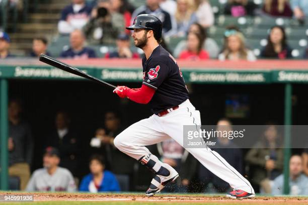 Tyler Naquin of the Cleveland Indians hits an RBI single during the first inning against the Toronto Blue Jays at Progressive Field on April 13 2018...