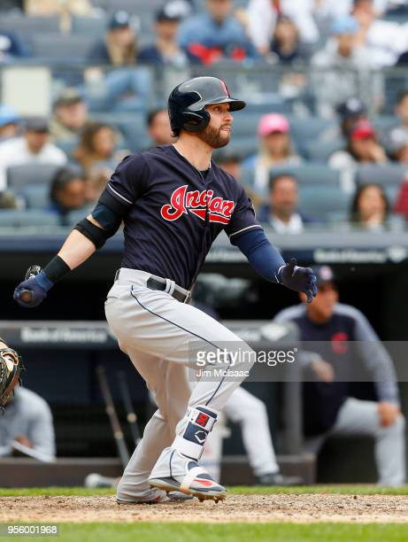 Tyler Naquin of the Cleveland Indians in action against the New York Yankees at Yankee Stadium on May 6 2018 in the Bronx borough of New York City...