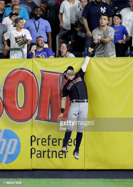 Tyler Naquin of the Cleveland Indians is unable to catch a home run hit by Gleyber Torres of the New York Yankees in the eighth inning at Yankee...